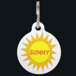 "Sunny Personalized Yellow Summer Sun Sunshine Pet Name Tag<br><div class=""desc"">Pet tag features an original marker illustration of a bright yellow summer sunshine. Simply personalize with your pet&#39;s name and your contact information for a one-of-a-kind dog or cat tag!  Don&#39;t see what you&#39;re looking for? Need help with customization? Contact Rebecca to have something designed just for you.</div>"