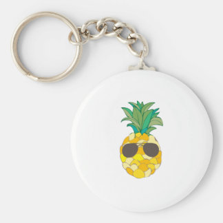 Sunny Pineapple Basic Round Button Keychain