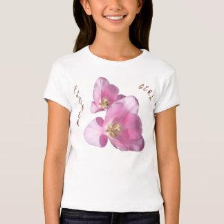 Sunny Pink Tulips Flower Girl Babydoll T-shirt