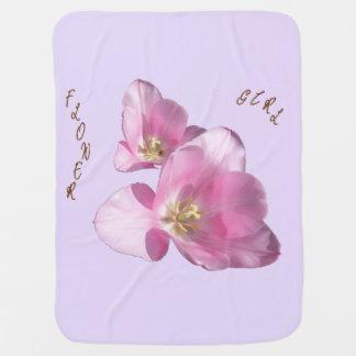 Sunny Pink Tulips Flower Girl Blanket