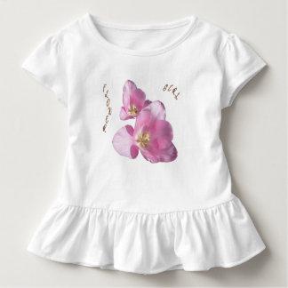 Sunny Pink Tulips Flower Girl Ruffle Tee