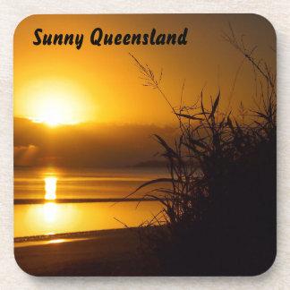 Sunny Queensland coastal sunrise drink coaster set