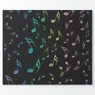 Sunny Rainbow Musical Notes Wrapping Paper