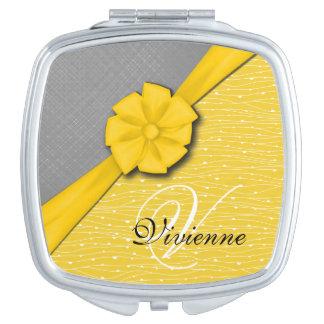 Sunny Ribbon, Two Tone Yellow Waves Grey Fabric Compact Mirror