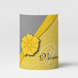 Sunny Ribbon, Two Tone Yellow Waves Grey Fabric Pillar Candle