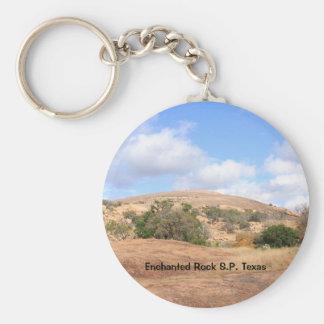 Sunny Rustic Enchanted Rock Park Texas Keychain