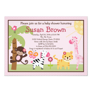 Sunny Safari Girl Animals Baby Shower Invitation