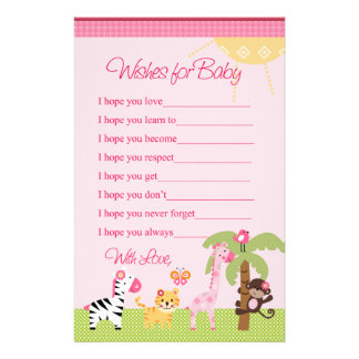 Sunny Safari Girl Animals Wishes for Baby Shower Stationery