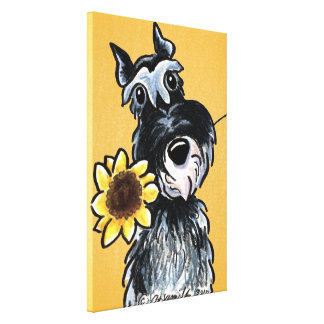 Sunny Schnauzer Sunflower Off-Leash Art™ Drawing Stretched Canvas Prints