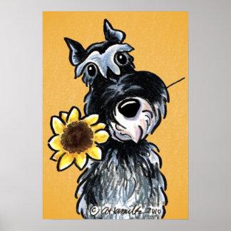 Sunny Schnauzer Sunflower Off-Leash Art™ Drawing Poster