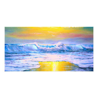 Sunny Seascape Painting by Mazz Card