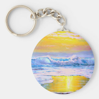 Sunny Seascape Painting by Mazz Keychain