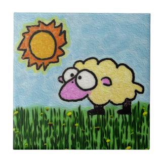 Sunny Sheep Ceramic Tile