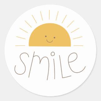 sunny smile classic round sticker