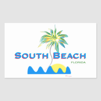 Sunny South Beach, Florida Rectangular Sticker