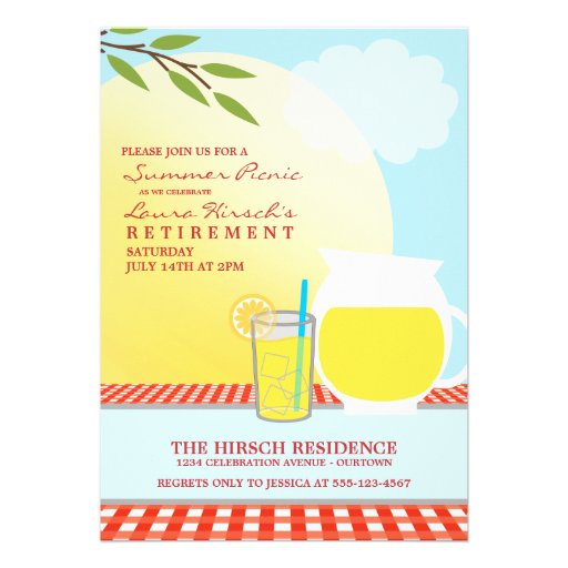 Sunny Summer Picnic Party Invitations