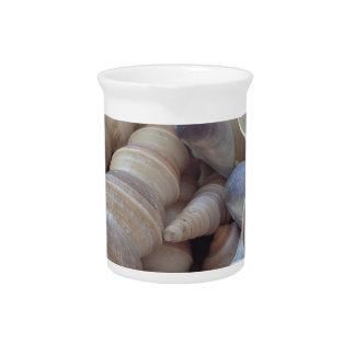 Sunny Summer Seashells. Romantic, Exotic Tropical Beverage Pitcher