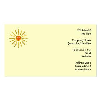 Sunny Summer Sun. Yellow on Cream. Business Card