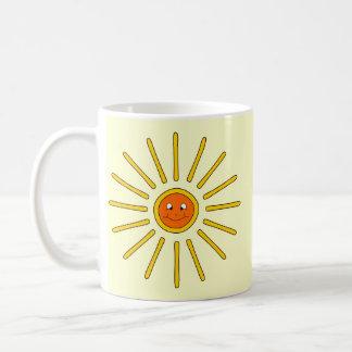Sunny Summer Sun. Yellow on Cream. Coffee Mug