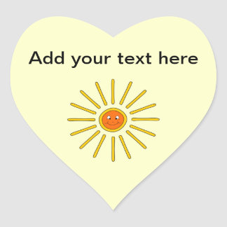 Sunny Summer Sun. Yellow on Cream. Heart Sticker