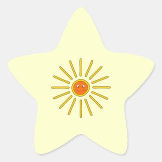 Sunny Summer Sun. Yellow on Cream. Stickers