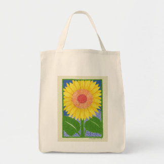 Sunny Sunflower Grocery Tote Bag