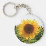 Sunny Sunflower Basic Round Button Keychain
