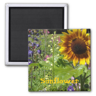 Sunny  Sunflower 2 Inch Square Magnet