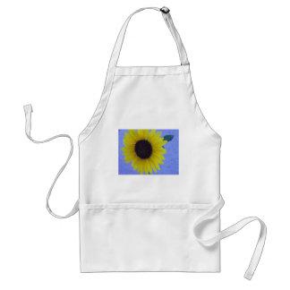Sunny Sunflower on Blue Background Adult Apron