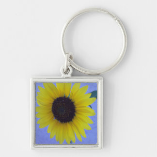 Sunny Sunflower on Blue Background Keychain
