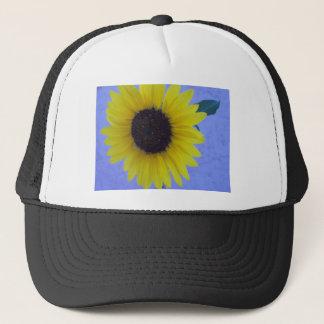 Sunny Sunflower on Blue Background Trucker Hat