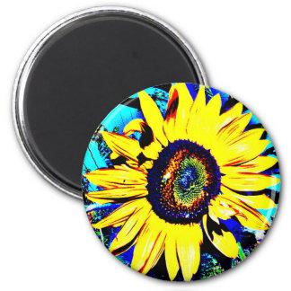 Sunny Sunflower Round Magnet | Flower Photo