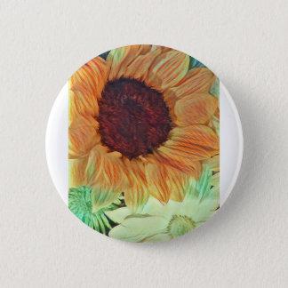 Sunny sunflowers pinback button