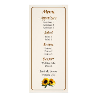 Sunny Sunflowers Wedding Menu... Rack Card