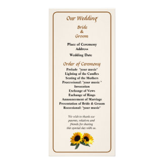 Sunny Sunflowers Wedding Program