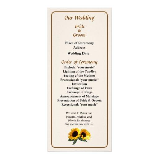 Sunny Sunflowers Wedding Program Rack Card Design