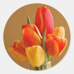 Sunny Tulips Round Sticker