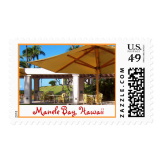 Sunny Umbrellas at Manele Bay, Hawaii Postage Stamp