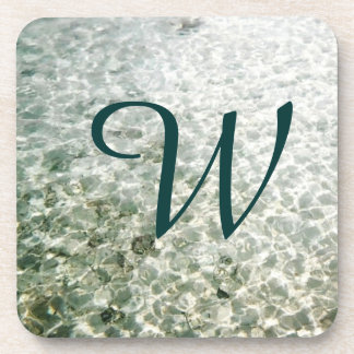 Sunny Water Monogrammed Drink Coaster