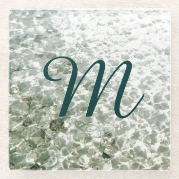 Beach Themed Sunny Water Monogrammed Glass Coaster