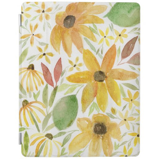 Sunny Watercolor Sunflower and Wildflowers iPad Smart Cover