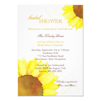 Sunny Watercolor Sunflowers Floral Bridal Shower Invites