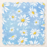 "Sunny White Daisies on Blue Paper Coaster<br><div class=""desc"">This pretty coaster has white daisies on a blue watercolor look background. Coordinating party items available.</div>"