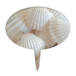 Sunny White Seashells, Summer Beach Exotic Cake Topper