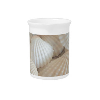 Sunny White Seashells, Summer Beach Exotic Drink Pitcher