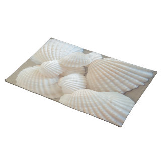 Sunny White Seashells, Summer Beach Exotic Cloth Placemat