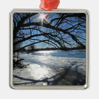 Sunny Winter Day at the River Christmas Ornament