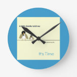 Sunny Yellow and Bright Blue- A Little Birdie Told Round Wall Clock