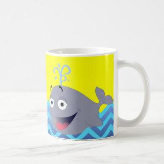 Sunny Yellow and Sky Blue Cartoon Whale Coffee Mug
