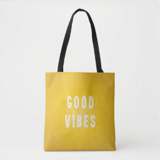 Sunny Yellow and White Good Vibes Vacation / Beach Tote Bag